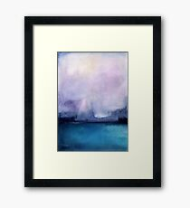 Watercolor landscape sky clouds Framed Print