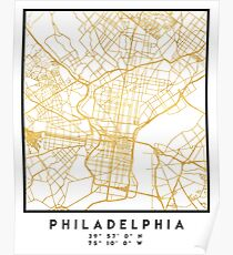 PHILADELPHIA PENNSYLVANIA CITY STREET MAP ART Poster