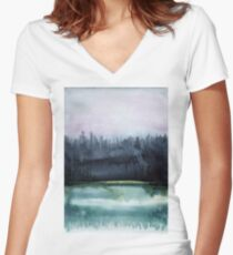 Watercolor landscape sky clouds Women's Fitted V-Neck T-Shirt