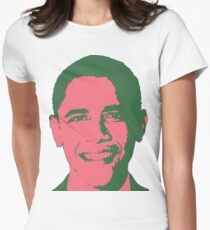 Graphic Obama Face in Pink and Green T-Shirt