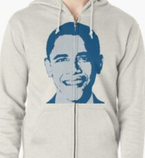 Great Graphic Barack Obama in Blue Zipped Hoodie