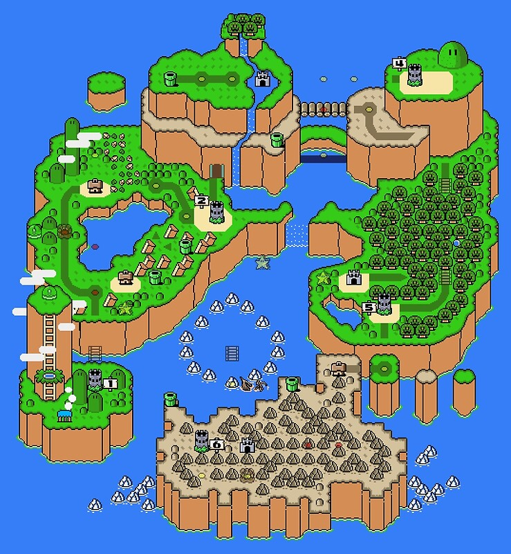 Super mario world map posters by idaspark redbubble super mario world map by idaspark gumiabroncs Gallery
