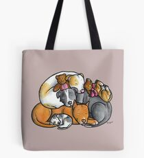 Pit bull terrier dogs - sleeping pile Tote Bag