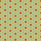 Vintage pattern with orange flowers by Silvia Ganora