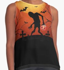 Monster Zombie with Candy Halloween  Contrast Tank