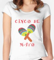 Mexican Cinco De Mayo Maracas Design Women's Fitted Scoop T-Shirt