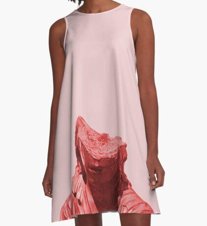 Schüchternes rotes Mädchen A-Linien Kleid