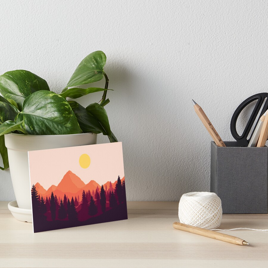 Forest Mountain Horizon Art Board Print