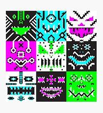 square monster pattern punk Photographic Print