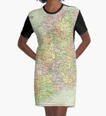 Vintage Map Of Ireland (1920s) Graphic T-Shirt Dress
