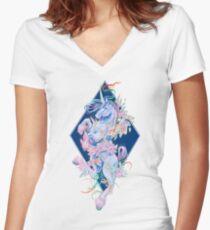Crystal Schlange Regenbogen Einhorn Tailliertes T-Shirt mit V-Ausschnitt