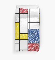 Mondrian Scribbles Minimalist De Stijl Modern Art Duvet Cover