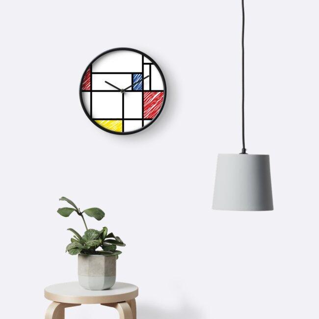 Mondrian Scribbles Minimalist De Stijl Moderne Kunst von fatfatin