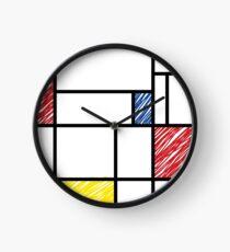 Mondrian Scribbles Minimalist De Stijl Modern Art Clock