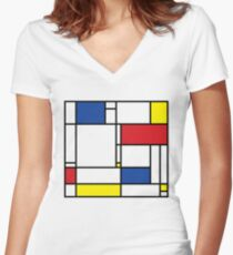 Mondrian Minimalist De Stijl Modern Art Women's Fitted V-Neck T-Shirt