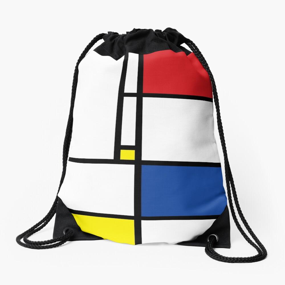 Mondrian Minimalist De Stijl Modern Art Drawstring Bag