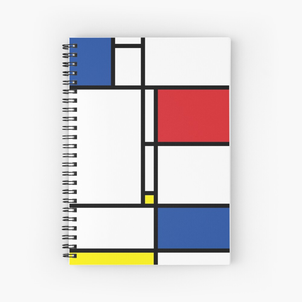 Mondrian Minimalist De Stijl Modern Art Spiral Notebook
