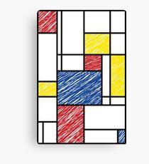 Mondrian Scribbles Minimalist De Stijl Modern Art Canvas Print