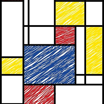 Mondrian Scribbles Minimalist De Stijl Modern Art by fatfatin