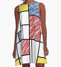 Mondrian Scribbles Minimalist De Stijl Modern Art A-Line Dress