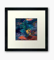 painted blue and red clouds brushstrokes Framed Print