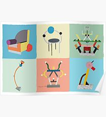 Ettore Sottsass Memphis Style furniture and lamps Poster