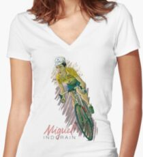 Miguel 'el extraterrestre' indurain Women's Fitted V-Neck T-Shirt