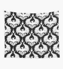 Dragon Damask - White Wall Tapestry