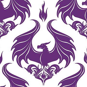 Dragon Damask - Amethyst Purple by Art-by-Aelia