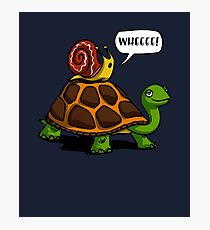 Snail Riding Turtle Wheee! Funny Cartoon Forest Animals Photographic Print