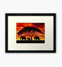 Acacia Elephant Sunset Framed Print
