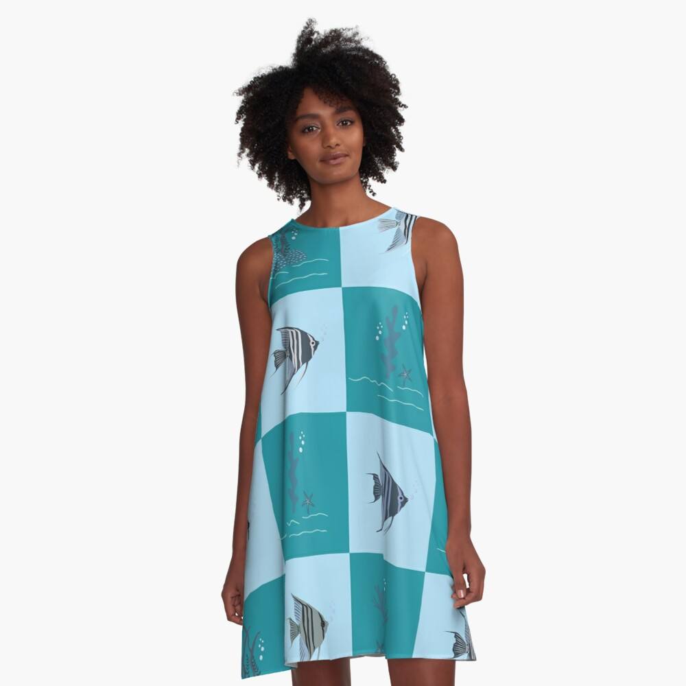AFE Angelfish Pattern A-Line Dress Front