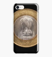 Indian ten rupee coin close up on black iPhone Case/Skin