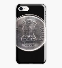 Indian one rupee coin close up on black iPhone Case/Skin