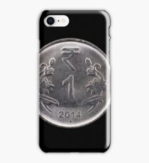 Indian fifty paise coin close up on black iPhone Case/Skin