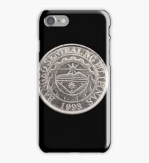 Filipino one piso coin close up on black iPhone Case/Skin