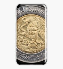 Mexican one peso coin close up on black iPhone Case/Skin