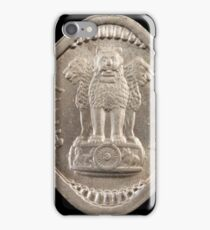 Old Indian square coin on a black background iPhone Case/Skin