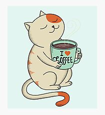 Cat and Coffee Photographic Print