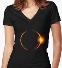 Solar Eclipse of 2017 Women's Fitted V-Neck T-Shirt