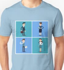 Business People. Businessman and Businesswoman. Woman with Tablet. Woman with Coffee. Man with Phone. Man with Suitcase. Business Team. Flat style T-Shirt