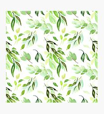 Whimsical Watercolor Leaves Pattern Photographic Print