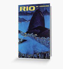 1963 Rio De Janeiro Brazil Travel Poster Greeting Card