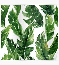 Watercolour Banana Leaves Pattern Poster