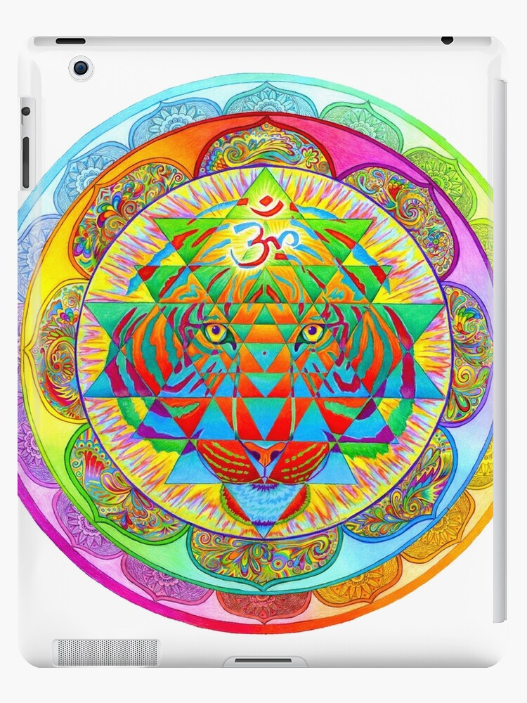 Inner Strength Psychedelic Tiger Sri Yantra Mandala by Rebecca Wang