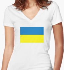 Ukraine flag Women's Fitted V-Neck T-Shirt