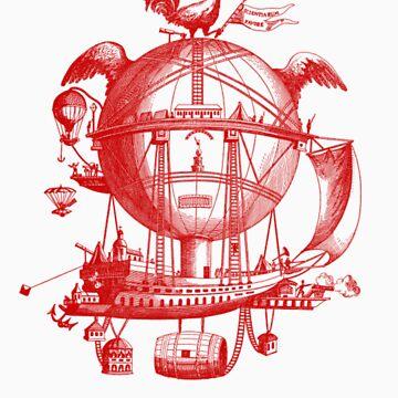 Red Round Blimp Zeppelin by kbark