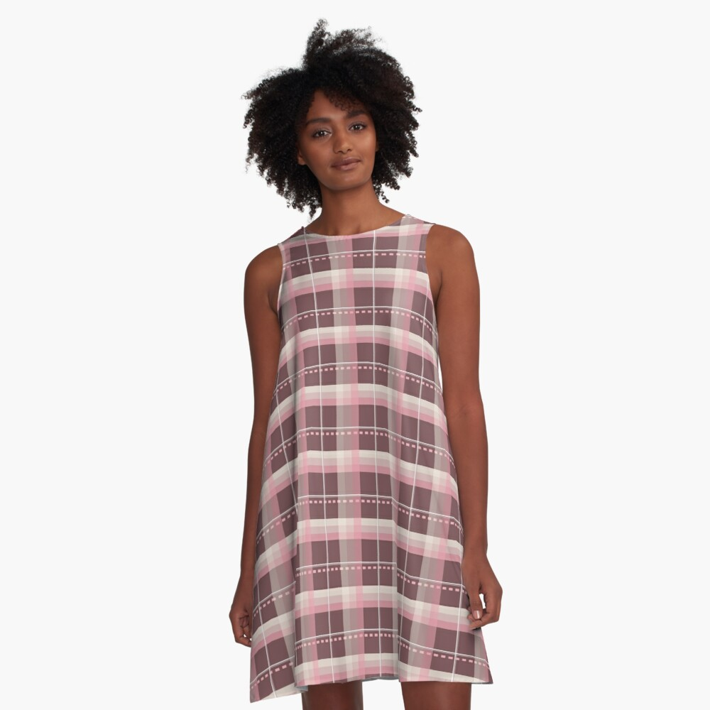 AFE Pink and Chocolate Brown Plaid A-Line Dress Front