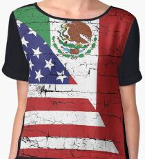 Vintage Mexican American Flag Cool T-Shirt Chiffon Top