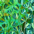 EFFLORESCENCE Lime Green Turquoise Blue Brown Floral Garden Watercolor Painting Pattern Flowers Nature Fine Art Design by EbiEmporium